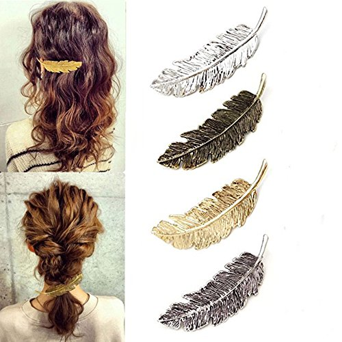 - Vintage Exaggerated Alloy Feather Hairpin, 4Pcs Set Tree Leaf Side Hair Pin Clip, Ponytail Holder for Women and Girls Styling Accessories