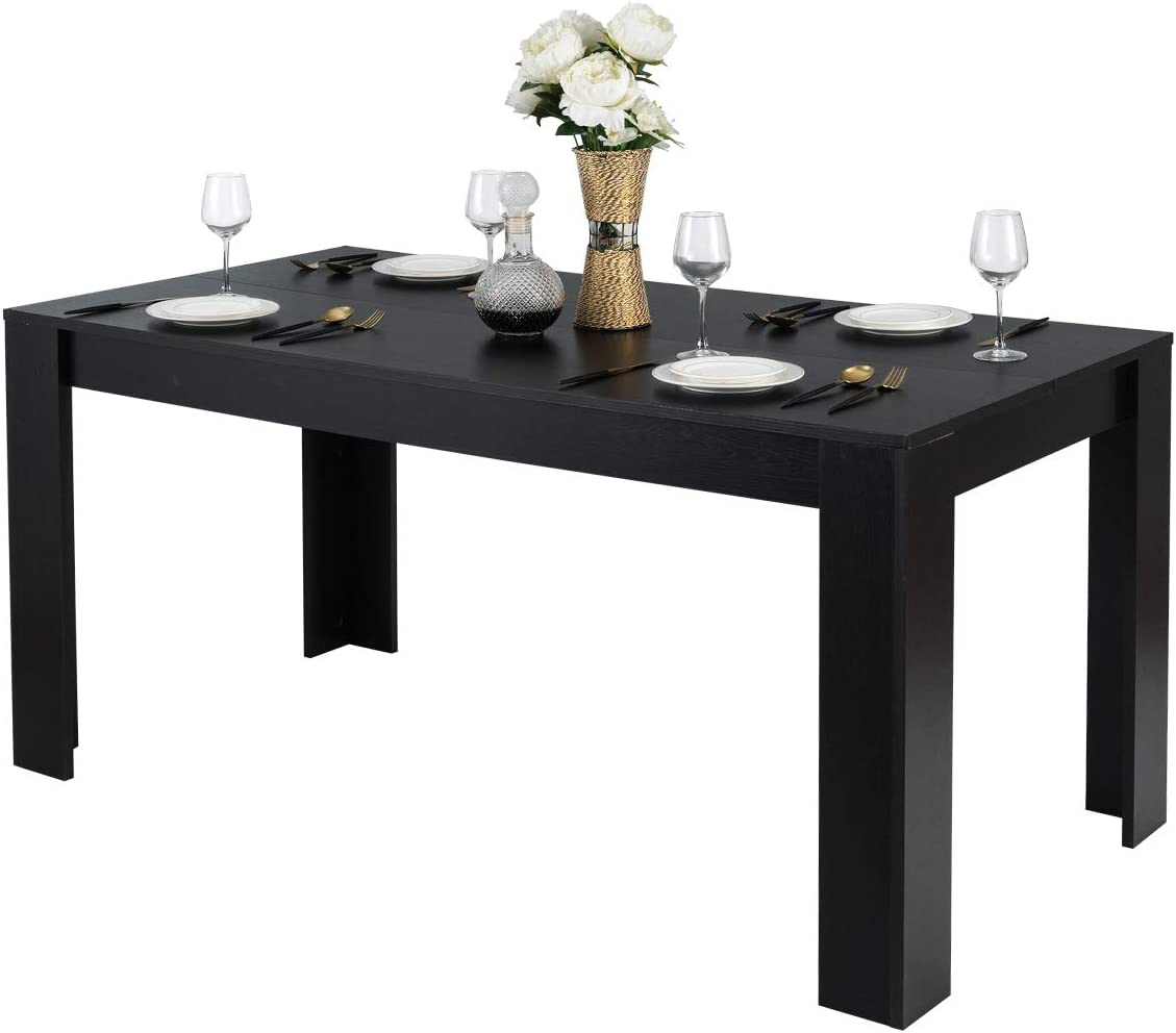 "Giantex Wood Dining Table Rectangular Kitchen Table Modern Home Furniture 63"" Lx31.5 Wx30 H (Black)"
