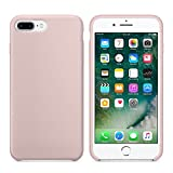 iPhone 7 Plus Case, iPhone 8 Plus Case, Liquid Silicone Gel Rubber Case with Shockproof Microfiber Cloth Lining Cushion for iPhone 7 Plus / iPhone 8 Plus (Sand Pink)