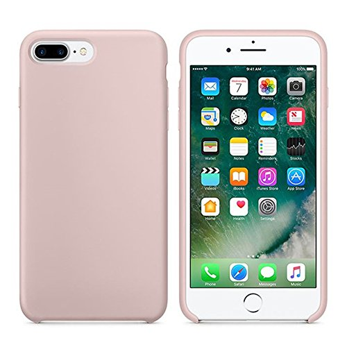 Iphone Pink Silicone (iPhone 7 Plus Case, iPhone 8 Plus Case, Liquid Silicone Gel Rubber Case with Shockproof Microfiber Cloth Lining Cushion for iPhone 7 Plus / iPhone 8 Plus (Sand Pink))