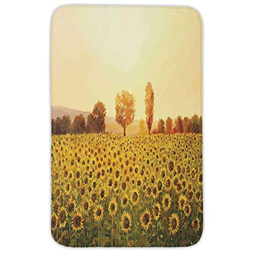 Price comparison product image K0k2t0 Rectangular Area Rug Mat Rug, Landscape, Sun Flowers Field at Sunset Forest Background Sun Oil Painting Image, Cream Yellow Green, Home Decor Mat Non Slip Backing