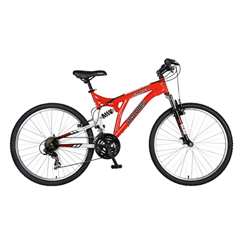 Polaris Ranger Full Suspension Mountain Bike, 26 inch Wheels, 18 inch Frame, Men's Bike, Red