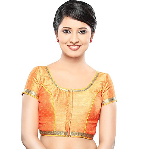 (Bollywood Blouses Women's Designer Copper Sequence Saree Blouse Large Orange)