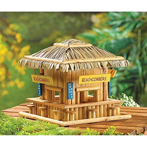 BIRDHOUSES: Beach Hangout Tropical Tiki HUT Bird House Patio Garden Decor (Tropical Hut)