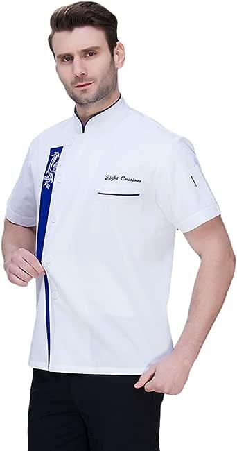 Dooxii Unisexo Mujeres Hombre Moda Verano Manga Corta Camisa de Cocinero Transpirable Chaquetas de Chef Uniforme Restaurante Occidental Cocina: Amazon.es: Ropa y accesorios
