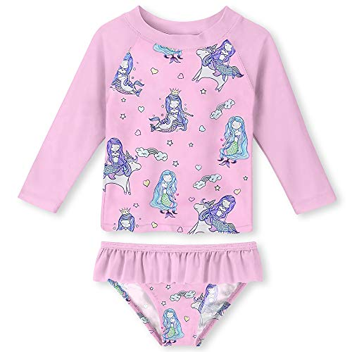 UNIFACO Little Toddler Girls Pink Long Sleeve Two Pieces Swimsuit Rashguard Set Tankini for Summer Beach Party Size 2T ()