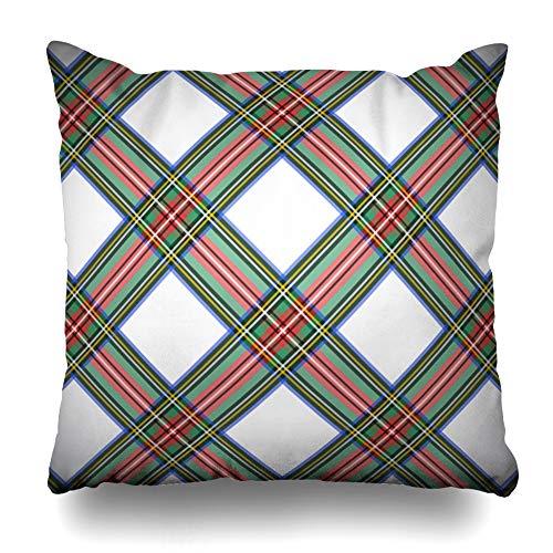 Ahawoso Throw Pillow Cover Wool Green Tartan Modern Dress Stewart Scottish Plaid Geometric Clip Blue British Checkered White Home Decor Cushion Case Square Size 20