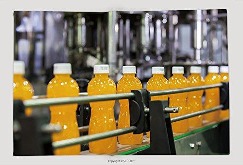 Supersoft Fleece Throw Blanket Orange Juice Bottles Transfer On Conveyor Belt System 302611439