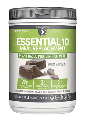 Designer Protein Essential 10 100% Plant-Based Meal Replacement, Belgian Chocolate, 1.32 Pound