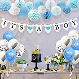 Sweet Baby Co. Baby Shower Decorations for Boy with Its A Boy Banner, Lanterns, Honeycomb Balls, Paper Tissue Pom Poms, Confetti Balloons, Silver Balloon Ribbon (Baby Blue, True Blue, Grey and White)