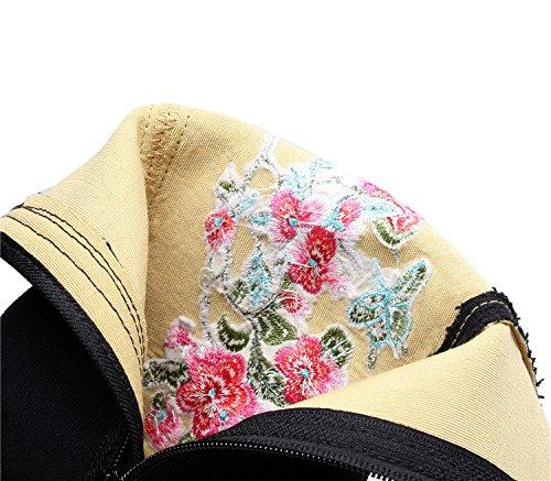 Beijing Bottes Accroître KHSKX Chaussures Les Moyen Vieux Une Et Tissu Tissu Des Bottes L'Automne Printemps Bottes Épaissie Seul Chaussures black Vent Brodés Seule De Femme Tube Fond Le xFFr4YHw