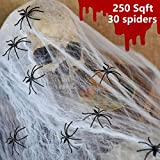 Halloween Big Stretchable Spider Webs with 30 Fake Spiders Indoor & Outdoor Spooky Cobwebs Decorations