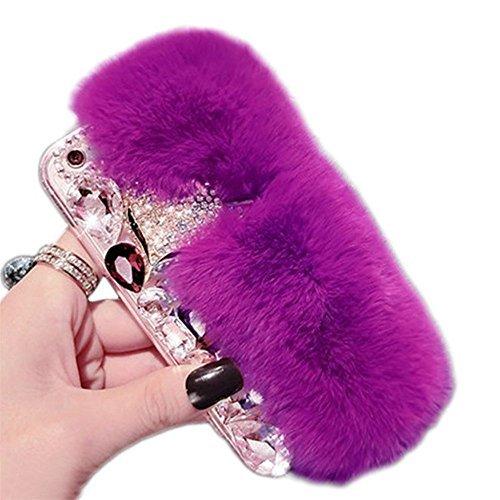 - Case for Galaxy S6, Super Deluxe Luxury Fox Head Fluffy Furry Soft Warm Beaver Rex Rabbit Hair Fur Glitter Diamond Crystal Rhinestone Case for Samsung Galaxy S6(Dark Purple)
