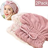 SweetCat  2PC Microfiber Hair Drying Caps, Extrame Soft & Ultra Absorbent, Fast Drying Hair Turban Wrap Towels Thick Fluffy Shower Cap for Girls and Women (Pink+Beige)