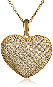 """18kt Yellow Gold Over Sterling Silver Pave Cubic Zirconia Puffed Heart Chain Pendant Necklace, 18"""""""