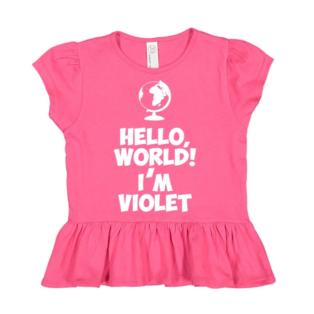 World Personalized Name Toddler//Kids Ruffle T-Shirt Hello Im Violet