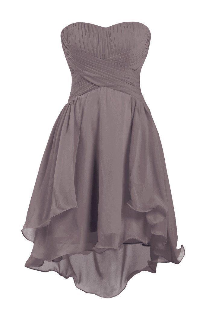 SI PEI Sweetheart Short Bridesmaid Chiffon Homecoming Prom Dress Grey US4