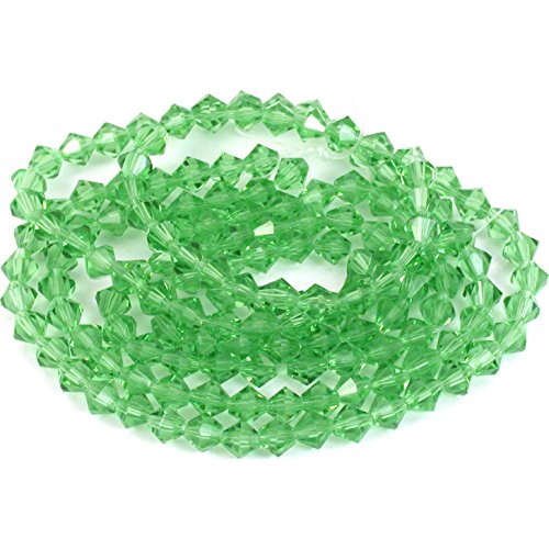 - Light Green Bicone FP Chinese Crystal Beads 6mm 5 St