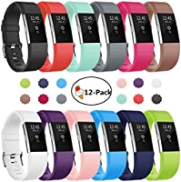 Soulen Fitbit Charge 2 Bands, 12-Pack Soft Accessory Replacement Wristband Large Small Band Available in Varied Colors with Secure Metal Clasp for Fitbit Charge 2