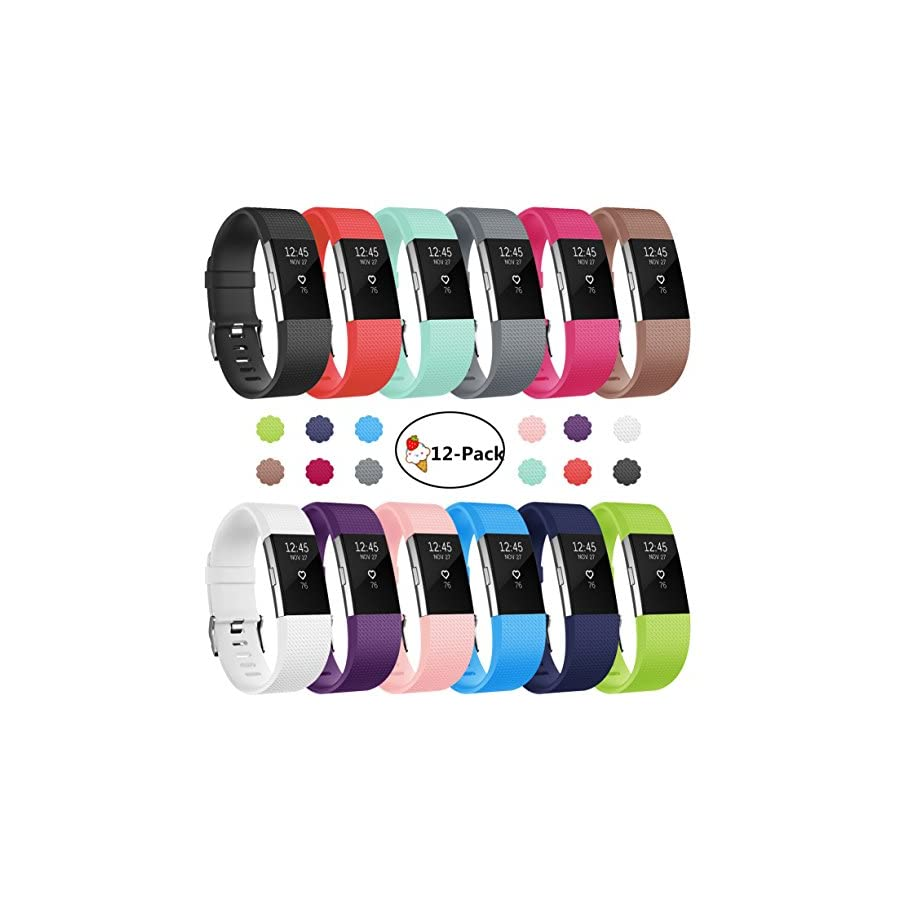 For Fitbit Charge 2 Bands, 12 Pack Soft Accessory Replacement Wristband Large Small Band Available in Varied Colors with Secure Metal Clasp for Fitbit Charge2