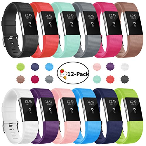 for Fitbit Charge 2 Bands, 12-Pack Soft Accessory Replacement Wristband Strap Large Small Band Available in Varied Colors with Secure Metal Clasp for Fitbit Charge 2