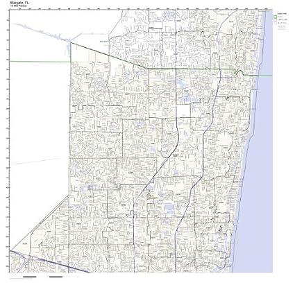 Margate Florida Map.Amazon Com Margate Fl Zip Code Map Laminated Home Kitchen