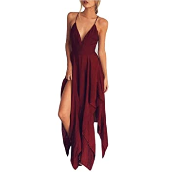 d1acc0bb348c Women Long Dress Daoroka Sexy Deep V Neck Backless Strap Irregular Hem  Evening Party Cocktail Casual