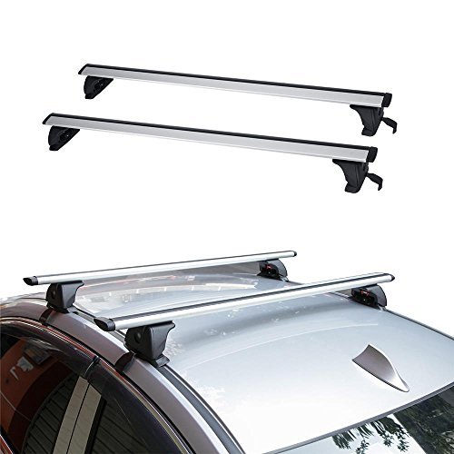 Roof Crossbars Rail (AUXMART 2Pcs Roof Rack Cross Bars with Anti-theft Lock System Fits Most Vehicles - 68KG/150LBS)