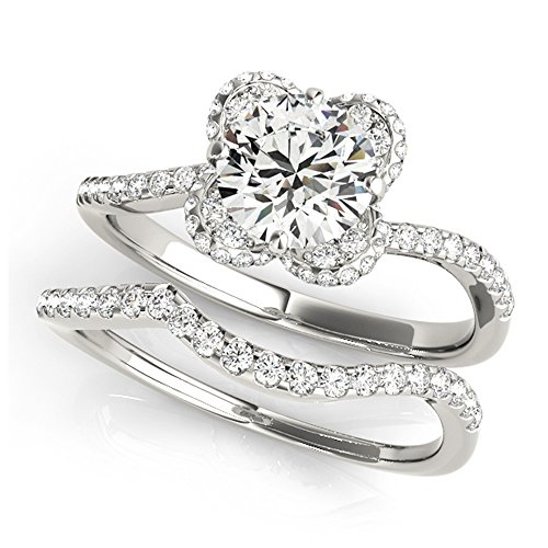14K White Gold Unique Wedding Diamond Bridal Set Style MT51036