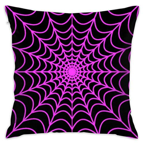 Soft & Wrinkle Free Throw Pillow Protector Zippered Pillowcase Cushion Cover Home Decor for Bedding Couch Seat Party Livingroom, Hotel Luxury - Halloween Spider Web ()