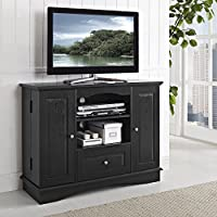 Walker Edison 42' Highboy Style Wood TV Stand Console, Black
