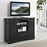 Walker Edison 42'' Highboy Style Wood TV Stand Console, Black