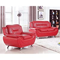 PDAE Deliah Relaxing Contemporary Modern Style 2pc Loveseat and Chair set-4 colors Red