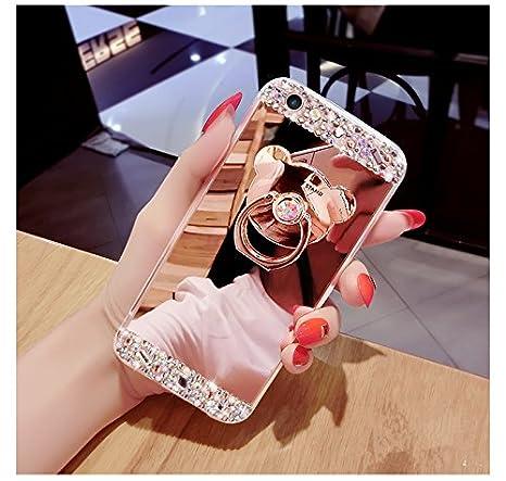 Ukayfe Miroir Coque en Silicone Etui de Protection /Étui Housse pour Femme Fille Ultra Slim Paillette Glitter Strass Miroir de Maquillage TPU Bumpe Couverture pour Samsung Galaxy S5//S5 Neo Or Rose