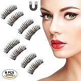 Beatife Natural Fake Magnetic Eyelashes, 3D Three Magnets Ultra Thin Soft, Glamorous, Natural Look, No Glue, Handmade Reusable False Eyelashes Fake Lashes Extension (Black) 2 Pair/8Pcs