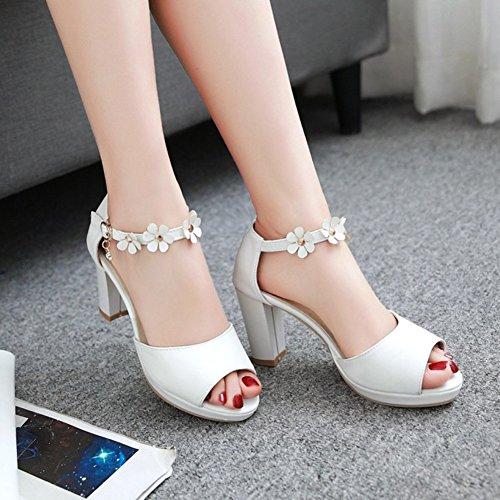 Easemax Vrouwen Elegante Bloemen Gesp Enkelband Peep Toe Bruids Schoenen Dikke Hoge Hak Platform Sandalen Wit