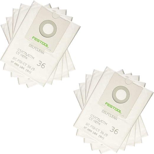 LongRong 10 Bolsas de Filtro autolimpiables, scfis-CT 36 para Festool 496186 Aspirador Industrial: Amazon.es: Hogar