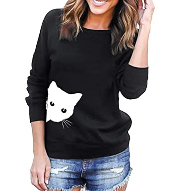 Womens Casual Shirt,Cat Printing Crewneck Fashion Pullover