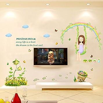 Arc en ciel swing fille papillons sticker mural en vinyle pvc sticker home papier
