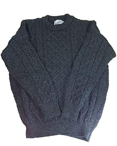 (Kerry Woollen Mills Aran Sweater 100% Wool Charcoal Unisex Irish Made)