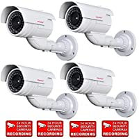 VideoSecu 4 Pack Dummy Bullet Security Cameras Fake CCTV Surveillance Imitation IR Infrared LEDs with Flashing Light DMYIRV2 MDC