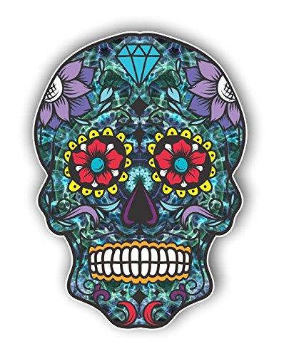 Vinyl Junkie Graphics Sugar Skull Sticker Dia de Los Muertos Decal Mexican Day of The Dead Stickers for Notebook car Truck Laptop Many Color Options (Blue Green)