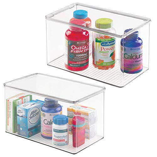 """mDesign Stackable Bathroom Storage Bin Box with Lid - Container for Organizing Hand Soaps, Body Wash, Shampoos, Conditioners, Hand Towels, Hair Accessories, Body Spray - 7"""" High, 2 Pack - Clear"""