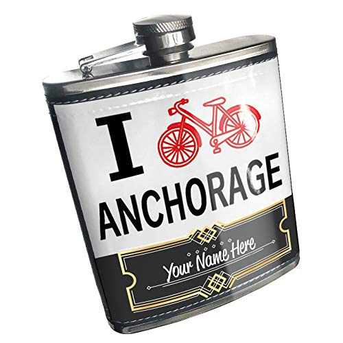 Neonblond Flask I Love Cycling City Anchorage Custom Name Stainless Steel]()