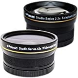 PLR Studio Series .43x High Definition Wide Angle Lens With Macro Attachment + PLR Studio Series 2.2X High Definition Telephoto Lens Travel Kit For The Canon Digital EOS Rebel SL1 (100D), T5i (700D), T4i (650D), T3 (1100D), T3i (600D), T1i (500D), T2i (550D), XSI (450D), XS (1000D), XTI (400D), XT (350D), 1D C, 70D, 60D, 60Da, 50D, 40D, 30D, 20D, 10D, 5D, 1D X, 1D, 5D Mark 2, 5D Mark 3, 7D, 6D Digital SLR Cameras Which Has Any Of These (18-55mm, 75-300mm, 50mm 1.4 , 55-200) Canon Lenses
