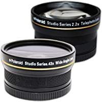 PLR Studio Series .43x High Definition Wide Angle Lens With Macro Attachment + PLR Studio Series 2.2X High Definition Telephoto Lens Travel Kit For The Canon EOS-M Mirrorless Camera Which Has The (22mm) Canon EF-M Lens