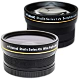 PLR Studio Series .43x High Definition Wide Angle Lens With Macro Attachment + PLR Studio Series 2.2X High Definition Telephoto Lens Travel Kit For The Sony Alpha DSLR SLT-A33, A35, A37, A55, A57, A65, A77, A99, A100, A200, A230, A290, A300, A330, A350, A380, A390, A450, A500, A560, A550, A700, A850, A900 & Minolta Maxxum Digital SLR Cameras Which Have Any Of These (18-70mm, 18-55mm, 75-300mm,