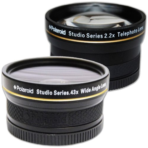 PLR Studio Series .43x High Definition Wide Angle Lens With Macro Attachment + PLR Studio Series 2.2X High Definition Telephoto Lens Travel KitFor The Nikon D5300, D5000, D3000, D3300, D3200, D5100, D