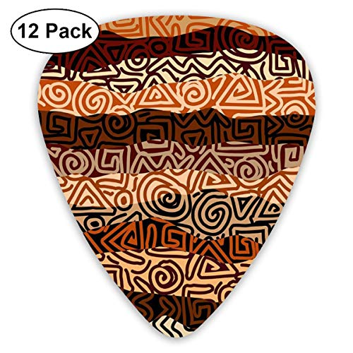 Celluloid Guitar Picks - 12 Pack,Abstract Art Colorful Designs,Ethnic Strikes Pattern In Brown Colors Ancient Curved Spiral Lines African Figures Theme,For Bass Electric & Acoustic Guitars.