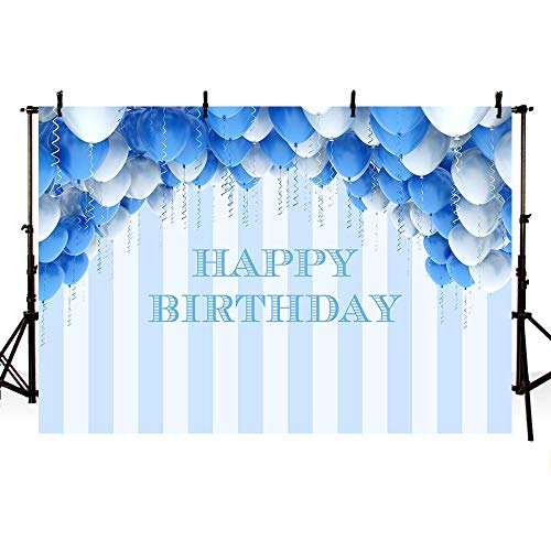 MEHOFOTO Light Blue and White Stripes Photo Background Happy Birthday Blue Silver Balloons Party Decorations Backdrops Banner for Photography 7x5ft